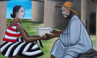 """""""L'eau de l'étranger"""" - Fresque peinte,  sur un des murs de Réo"""