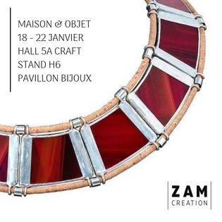 Zam-création présent au pavillon bijoux de Maison et Objet - janvier 2019
