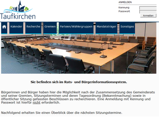 Das Rats- und Bürgerinfirmationssystem Taufkirchen - Quelle: Gemeinde Taufkirchen