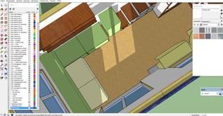 Grob die Einrichtung (herzige grüne Klötzchen) ans Gerüst anpassen. (Ich muss ständig die Grösse des Hauses anpassen, damit es in der Breite nicht über die 2.55m drüberhängt.)