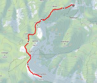 Route vom Parkplatz Hochmuth auf die Goiserer Hütte und auf den Hohen Kalmberg