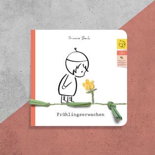 Postkarte mit Fidiline, bestickt mit Faden und Wolle, Stempel, handgemacht
