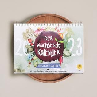 Der Wachsende Kalender 2022 Vergessene Sorten mit einpflanzbarem Samenpapier wurde handillustriert von Simone Beck Fidilou.