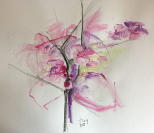 Kirschblüten 2, Aquarell, 27cmx27cm, 2019
