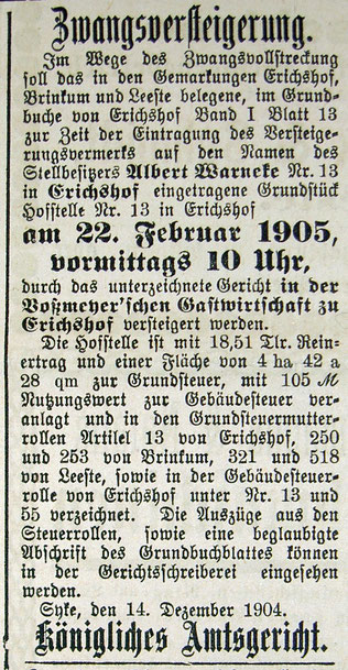 24.12.1904 SZ: Bei Voßmeyer werden auch Hofstellen versteigert, hier die Stelle 13 von Albert Warneke