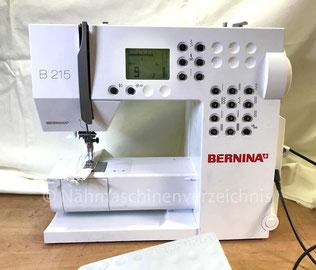 Bernina B215, Freiarm mit Einbaumotor, Zier- und Nutzstichautomatik elektronisch gesteuert. Baujahr ca. 2010, Hersteller: Fritz Gegauf AG Bernina-Nähmachinenfabrik Steckborn TG/Schweiz (Bilder: Nähmaschinenverzeichnis)