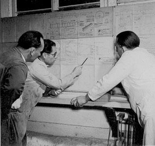 Planung des Doppelraab - v.l.: Alfred Ebinger, Gotthilf Schulin, Otto Frey