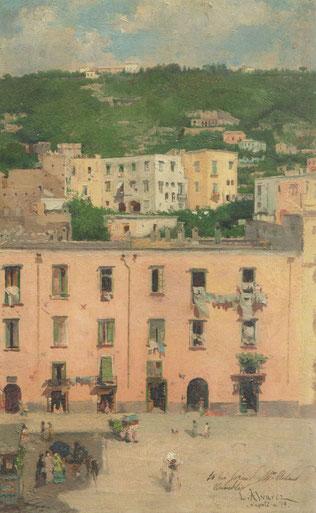 Luis Alvárez Catalá.Nápoles 1879. Pintado sobre un piso alto durante su estancia en Nápoles utilizó una luz viva que capta la luminosidad de la atmósfera, gusto por la composición escalonada. Este óleo sobre una tablita habitual en sus escenas de género.