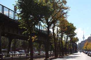 Schönhauser Allee mit der Hochbahn für die U-Bahn, Blick auf den Fernsehturm in Mitte. Foto: Helga Karl
