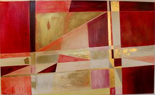 """""""Rotgold"""" - Acryl auf Leinwand 40x80"""