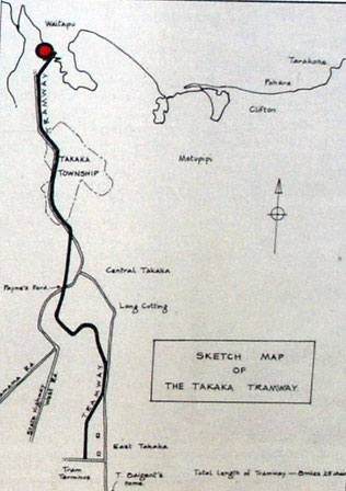 The route of the East Takaka to Waitapu Tramway 1882-1905 (Waitapu Wharf signage).