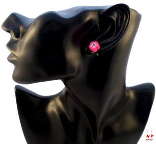 Boucles d'oreilles fleurs roses en pâte polymère