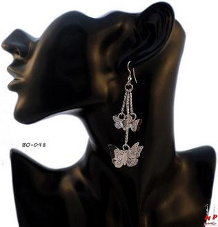 Boucles d'oreilles pendantes multi papillons argentés