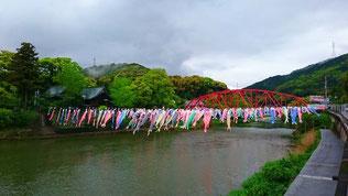佐賀県大和町川上峡 官人橋付近 『川上峡春まつり』開催中でした。