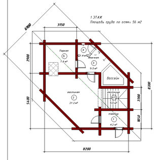 1 этаж. Вариант 2 с лестницей