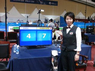 インドアゲームズ・女子テンボールで銀メダル以上が確定の河原千尋プロ(JPBA) 写真:日本コーチ・前田氏