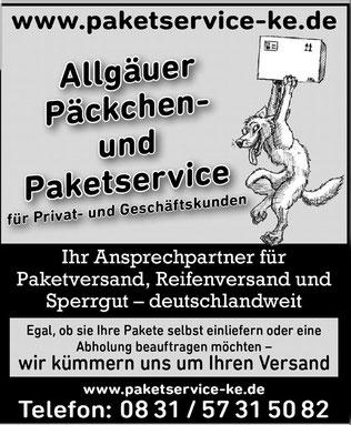 Ihr Partner Für Paketversand Reifen Sperrgut Allgäuer Paketservice