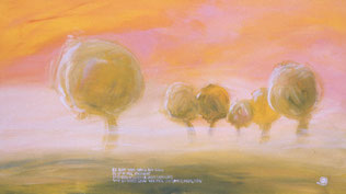 Kastanienbäume im Morgennebel