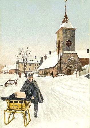 Eine gemalte Postkarte. Ein Wetter, bei dem man keinen Briefträger hinaus schickt!
