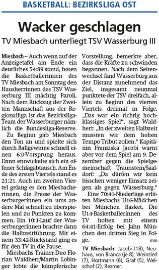 Bericht im Miesbacher Merkur am 27.11.2018