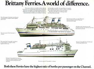 Brochure publicitaire diffusée par Brittant Ferries présentant des dessins des M/V Armorique et M/V Cornouailles.