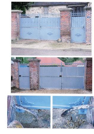 Portail en métal et détails, vue de la rue et de la propriété
