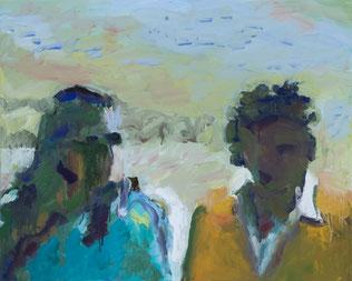 Susanne Koheil Günter Wintgens  »Gestalten«  2013  (nach einem Standfoto aus der gleichnamigen Videoinstallation) Temperafarbe auf Leinwand 80 x 100 cm