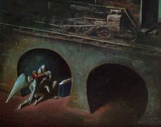 Edgar Ende, Unter dem Eisenbahndamm, Öl auf Hartfaser, 50,7,x63 cm, 1948