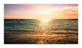 """Bildheizung """"Sonne im Meer"""", 600 Watt, 110x60cm, hier mit Silberrahmen matt, zum Vergrößern anklicken!"""