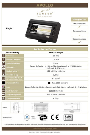 Datenblatt Tansun Wärmestrahler Apollo 2 kW für die Industrie
