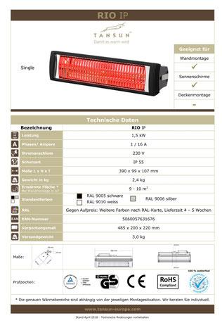 Datenblatt Tansun Terrassen Wärmestrahler RIO mit 1,5 kW