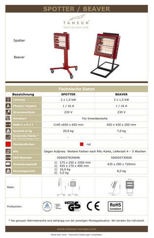 Datenblatt für Tansun Arbeitsplatz Infrarotheizung Modell Beaver