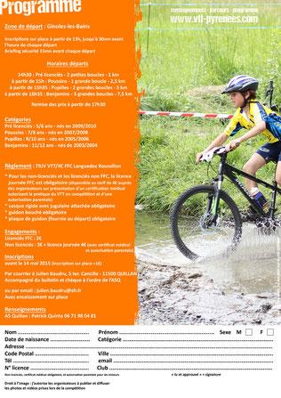 Programme Mini Carach Bike 2015