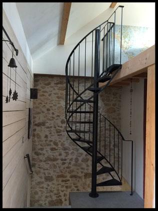 escalier hélicoïdal et rampant tout métal, l'atelier Carrotte