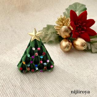 クリスマスツリーのブローチ つまみ細工nijiiroya