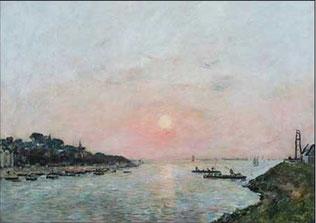 Eugène BOUDIN, Coucher de soleil à Saint-Valery, huile sur toile, Boulogne-sur-Mer, château-musée