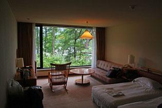 広く落ち着いた部屋 開放的な大きな窓