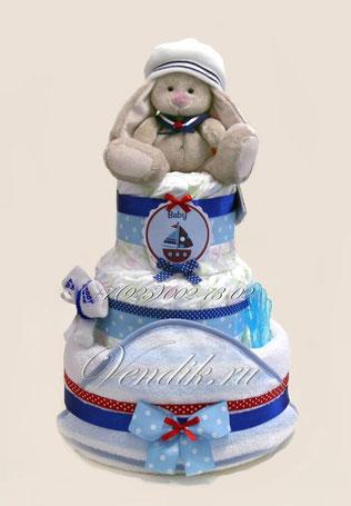 """Торт из памперсов  """" Зайка морячок"""""""