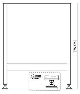 pied de table en métal pour cuisine 75 cm x 60 cm