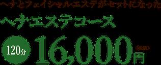 ヘナとフェイシャルエステがセットになったヘナエステコース120分16000円(税抜)