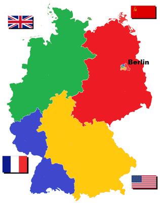L'Allemagne divisée en quatre zones d'occupation. Remixed from 52 Pickup/Wikimedia [CC BY SA-3.0]
