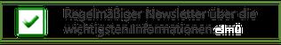 """Informationsgrafik mit grünen Haken. Text: """"Regelmäßiger Newsletter über die aktuelle Informationen aus dem Themenbereich der Diabetes""""."""
