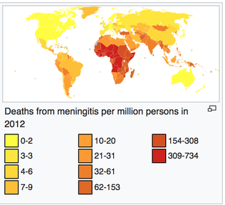 deaths from meningitis per million persons in 2012 worldwide
