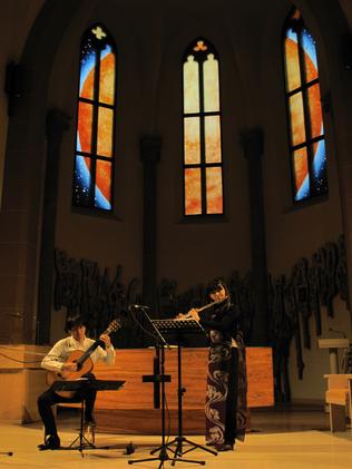 Concert Saint-Denis-Gerstheim- #SylvieLander-vitraux-Kaori Wakabayshi-Hiroshi Kogure