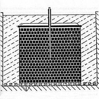 Versuchsanordnung G-1 (Friedrich Berkei / Kurt Diebner): 25 Tonnen Natururan (in 6.902 Uranoxidwürfeln mit 9,7 cm Kantenlänge) und 4,4 Tonnen Paraffin als Moderator