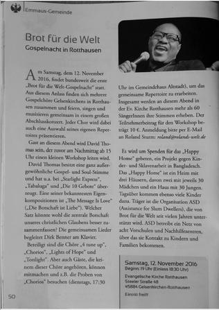 """Foto von Seite 50 von """"NetzWerk"""", dem Gemeindebrief der Emmaus-Kirchengemeinde Gelsenkirchen (Ausgabe Sommer / Herbst 2016)"""