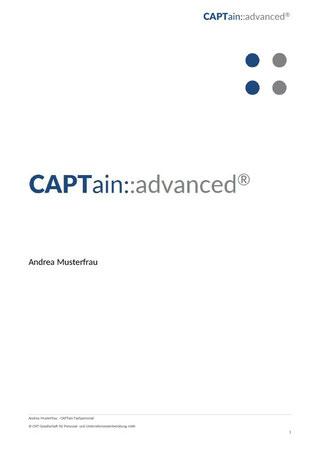 Titelblatt Auswertung CAPTain::advanced®; Der CAPTain Test® für Professionals; hervorragend geeignet zur vertieften und differenzierten Eignungsanalyse, Potenzialanalyse und Standortbestimmung; Potenzialanalyse, Persönlichkeitstest, Personaltest