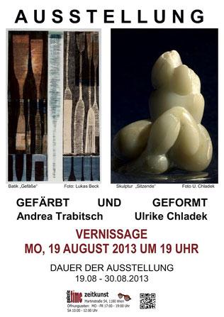 Galerie Time Andrea Trabitsch Ulrike Chladek Günther Wachtl Galerie Time Gefärbt Geformt Skulpturen Batik