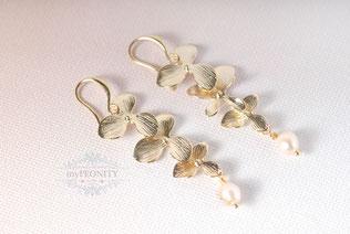 blumen blüten kaskade ohrringe perle gold