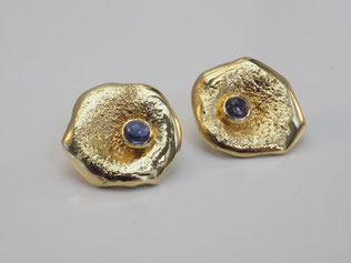 Ohrstecker,   Iolith, Cabochon, Gold